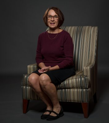 Brenda Brueggemann, the Aetna Chair of Writing, photographed Tuesday, September 26, 2017 at the UConn Foundation in Storrs. (G.J. McCarthy / UConn Foundation)